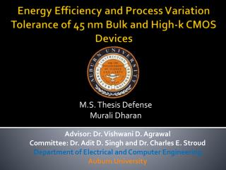 Energy Efficiency and Process Variation Tolerance of 45 nm Bulk and High-k CMOS Devices