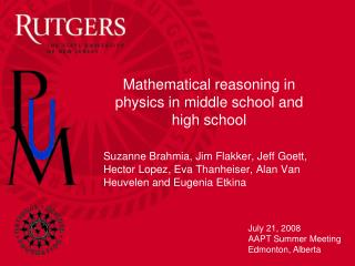 Mathematical reasoning in physics in middle school and high school