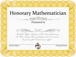 Honorary Mathematician