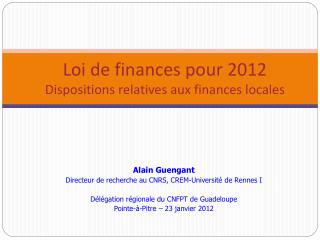 Loi de finances pour 2012 Dispositions relatives aux finances locales