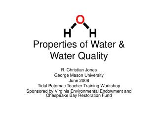 Properties of Water & Water Quality