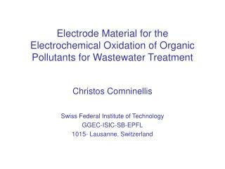Electrode Material for the Electrochemical Oxidation of Organic Pollutants for Wastewater Treatment
