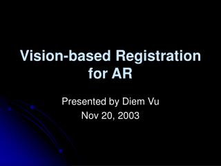 Vision-based Registration for AR