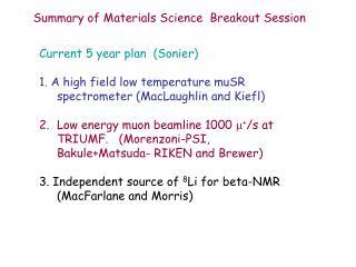 Current 5 year plan (Sonier)