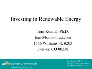 Investing in Renewable Energy