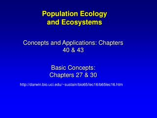 Population Ecology and Ecosystems