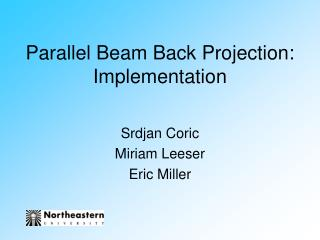 Parallel Beam Back Projection: Implementation