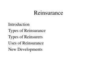 Reinsurance