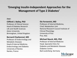 'Emerging Insulin-Independent Approaches for the Management of Type 2 Diabetes'