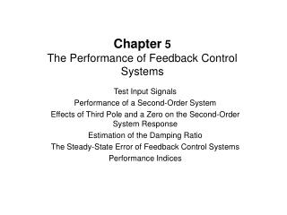 Chapter  5 The Performance of Feedback Control Systems