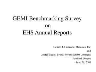 GEMI Benchmarking Survey on EHS Annual Reports