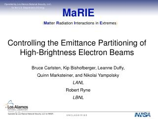 MaRIE Controlling the Emittance Partitioning of High-Brightness Electron Beams