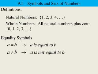 9.1 – Symbols and Sets of Numbers
