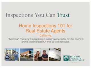 Home Inspections 101 for  Real Estate Agents California