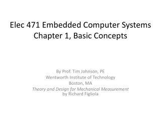 Elec  471 Embedded Computer Systems  Chapter 1, Basic Concepts