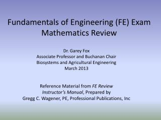 Fundamentals of Engineering (FE) Exam  Mathematics Review