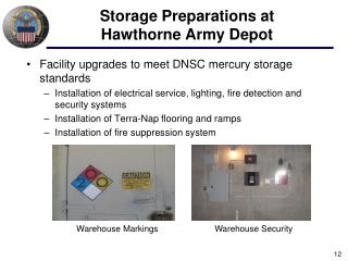 Storage Preparations at Hawthorne Army Depot