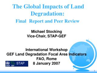 The Global Impacts of Land Degradation:  Final  Report and Peer Review
