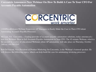 Corcentric Announces New Webinar On How To Build A Case To Y