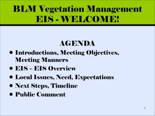 BLM Vegetation Management EIS - WELCOME!