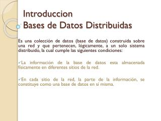 Introduccion Bases de Datos Distribuidas