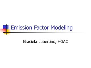 Emission Factor Modeling