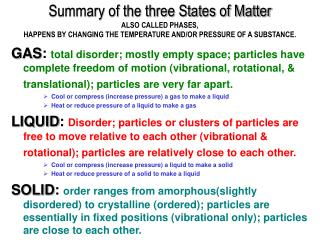 Summary of the three States of Matter ALSO CALLED PHASES,  HAPPENS BY CHANGING THE TEMPERATURE AND