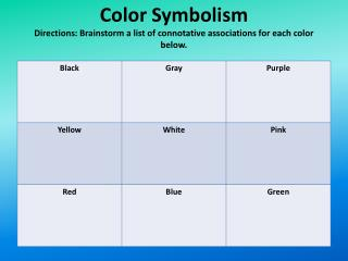 Color Symbolism Directions: Brainstorm a list of connotative associations for each color below.