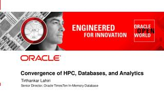 Convergence of HPC, Databases, and Analytics