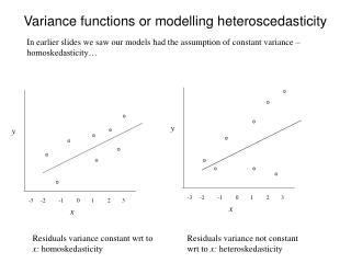 Variance functions or modelling heteroscedasticity