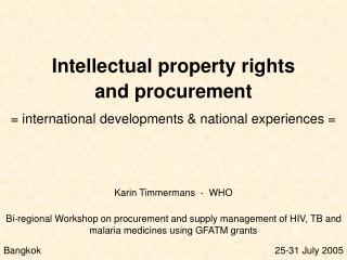 Intellectual property rights  and procurement