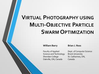 Virtual Photography using Multi-Objective Particle Swarm Optimization