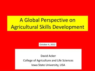 A Global Perspective on Agricultural Skills Development