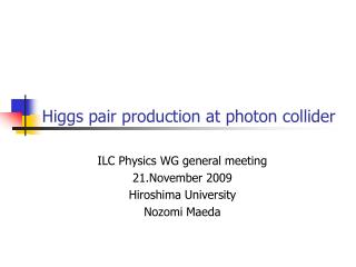 Higgs pair production at photon collider
