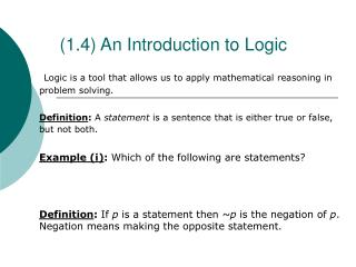 (1.4) An Introduction to Logic