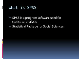 What is SPSS