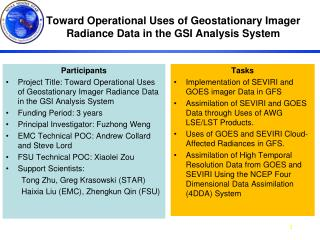 Toward Operational Uses of Geostationary Imager Radiance Data in the GSI Analysis System