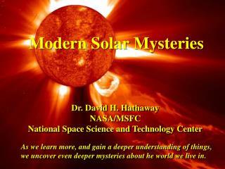 Modern Solar Mysteries