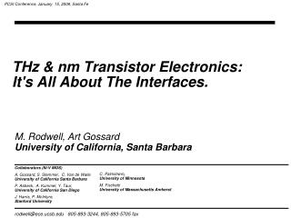 THz & nm Transistor Electronics:  It's All About The Interfaces.