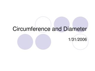 Circumference and Diameter
