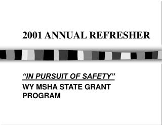 2001 ANNUAL REFRESHER