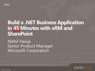 Build a .NET Business Application in 60 Minutes with xRM and SharePoint