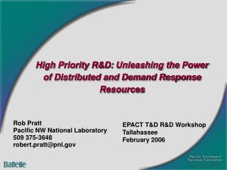 High Priority R&D: Unleashing the Power of Distributed and Demand Response Resources
