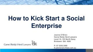 How to Kick Start a Social Enterprise