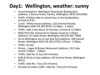 Day1:  Wellington, weather: sunny