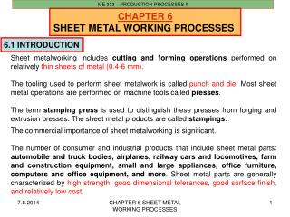 CHAPTER  6 SHEET METAL WORKING  PROCESSES