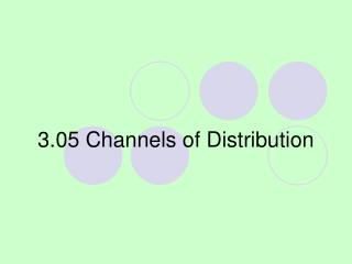3.05 Channels of Distribution