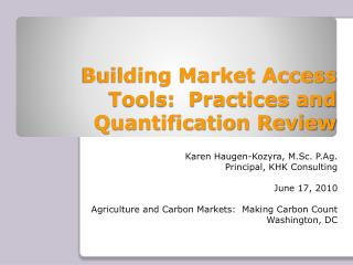 Building Market Access Tools:  Practices and Quantification Review