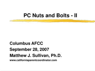 PC Nuts and Bolts - II