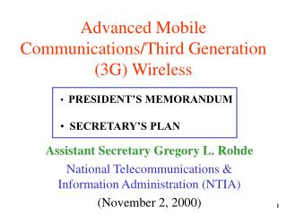 Advanced Mobile Communications/Third Generation (3G) Wireless